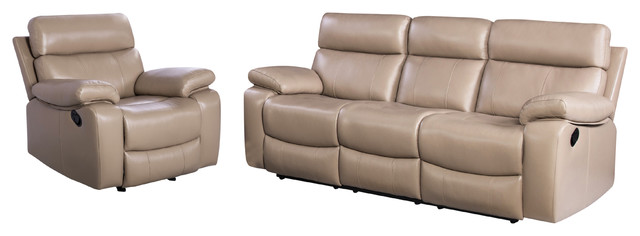 Astonishing Abbyson Living Pederson 2 Piece Leather Reclining Sofa And Recliner Set Beige Machost Co Dining Chair Design Ideas Machostcouk