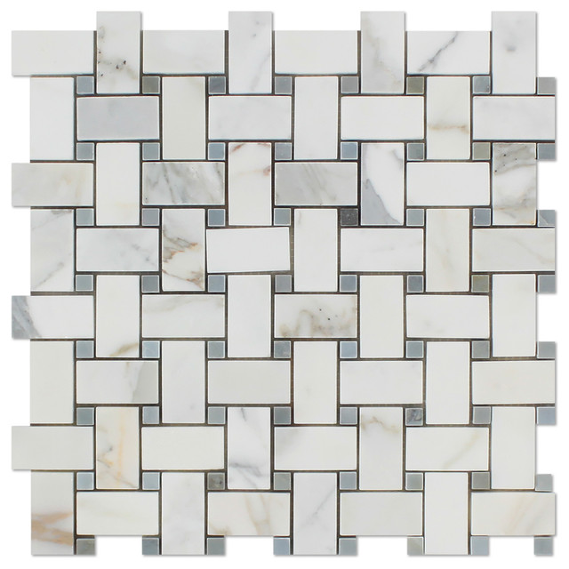 Oracle Tile And Stone 12x12 Calacatta Gold Italian Marble Honed Basketweave Mosaic