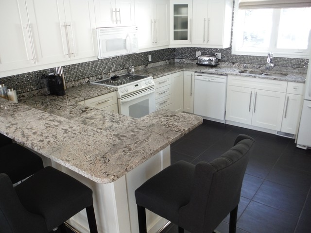 Bianco Antico Granite on White Cabinets - Contemporary - Other - by ...