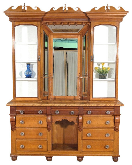 Antiques - Consigned Antique English Solid Satin Birch Victorian Welsh Kitchen Hutch & Reviews ...