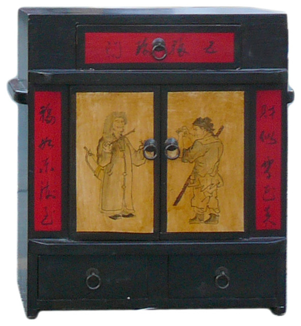 Chinese Black Oriental Scenery Small Wood Chest Cabinet - Asian - Accent Chests And Cabinets ...