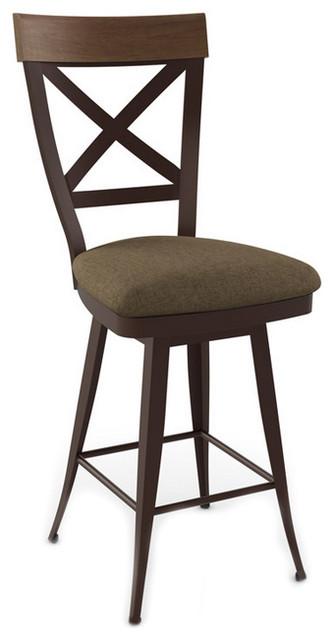 "Criss-Cross Wood Backrest Swivel Stool, Counter Height 26"""