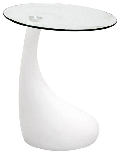 18 Modern Glass House Exterior Designs: Teardrop Side Table Black Color With 18'' Round Glass Top