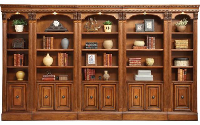 Huntington Library Wall Unit, Chestnut Finish, 5-Piece