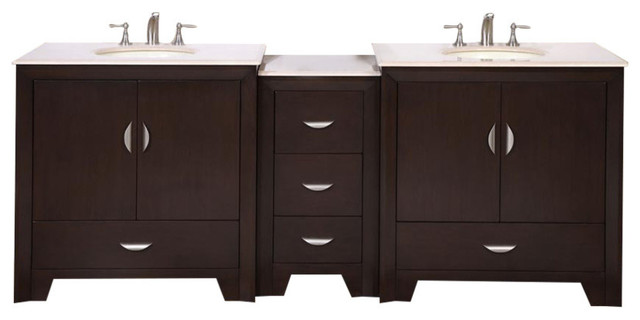 "Silkroad 89"" Modern Double Sink Bathroom Vanity."