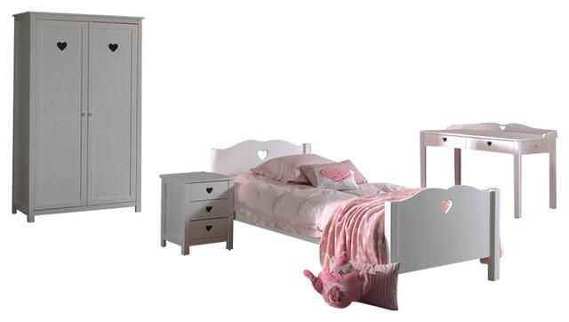 Amori Bed Combination, Set of 4, With 2-Door Wardrobe