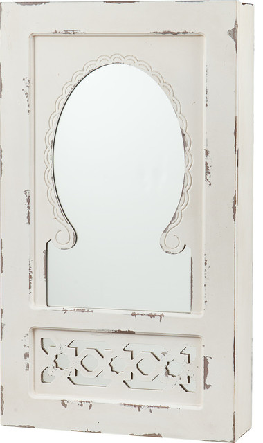 Gilmore Shabby Chic Wall Mount Jewelry Mirror, Antique White.