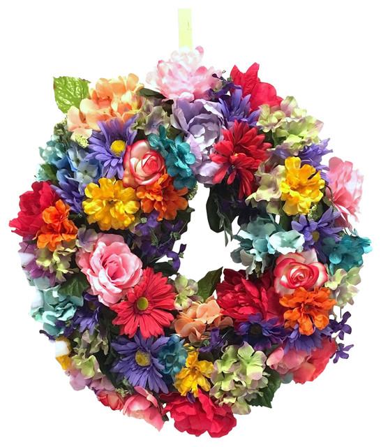 Outdoor Multicolor Bright Spring Wreath.