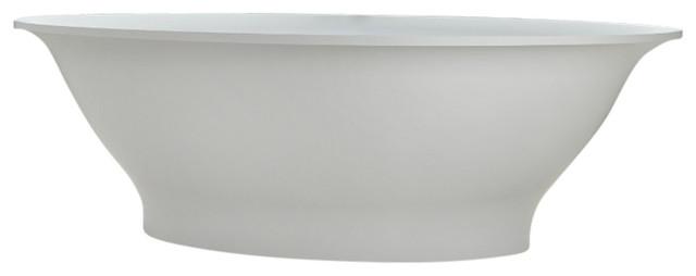 "74"" Polystone Oval Free-Standing Bathtub, Matte White, No Faucet."