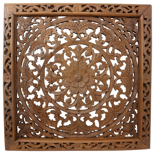 Very best Lotus Wall Panel Teak Wood Inlay Square, Brown Stain and Natural  LE02