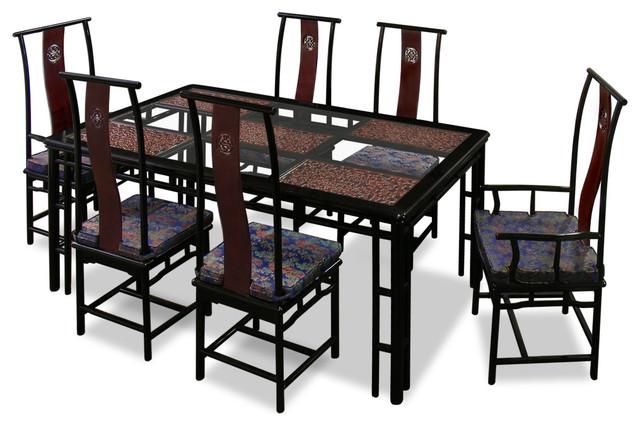 74 Rosewood Ming Style Dining Table With 6 Chairs