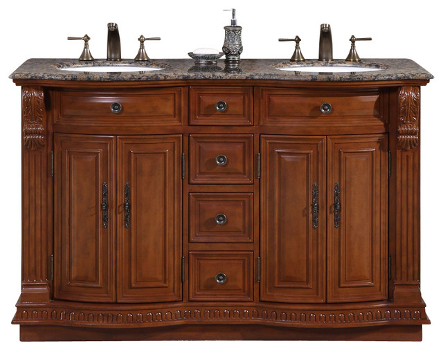 55 Inch Small Double Sink Bathroom Vanity Granite Top Traditional Traditional Bathroom Vanities And Sink Consoles By Ami Ventures Inc Houzz
