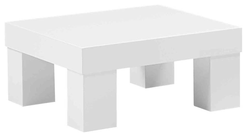 Contemporary White Square Low Profile End Table Contemporary