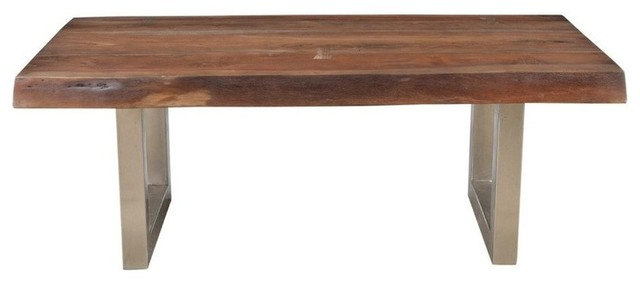 Solid Acacia Wood Coffee Table With Chrome Iron Legs
