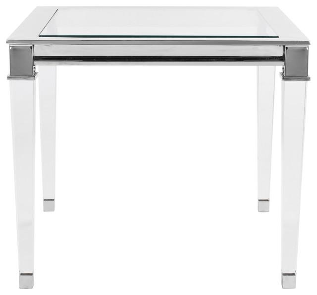 Charleston Acrylic End Table, Chrome.