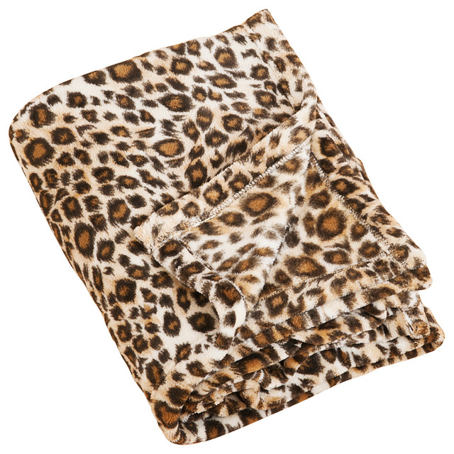 """Cheetah Print Plush Throw Blanket, 50""""x60""""."""