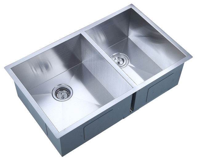 Undermount Offset Double Bowl Handmade Kitchen Sink, Zero Radius, 33 ...