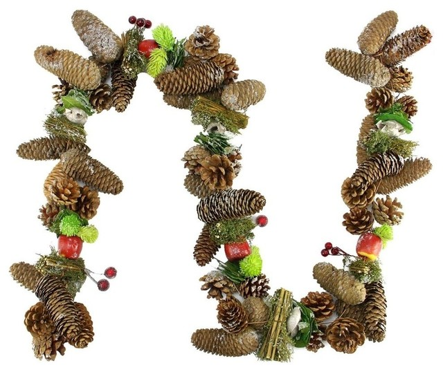 5&x27; Decorative Red Berries Fruit And Pine Artificial Christmas Garland, Unlit.