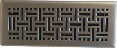 """Satin Nickel Wicker Plated Steel Floor Register, 4""""x10""""."""