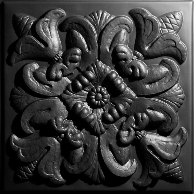 "24""x24"" Florentine White Ceiling Tiles, Set of 5, Black"