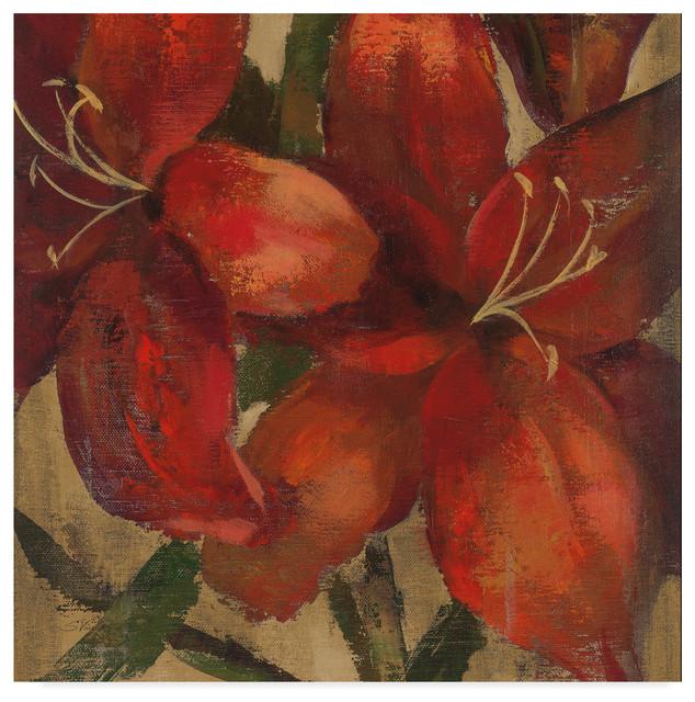 Fiery Dahlias II Crop Giclee Stretched Canvas Artwork 18 x 18 Global Gallery Silvia Vassileva