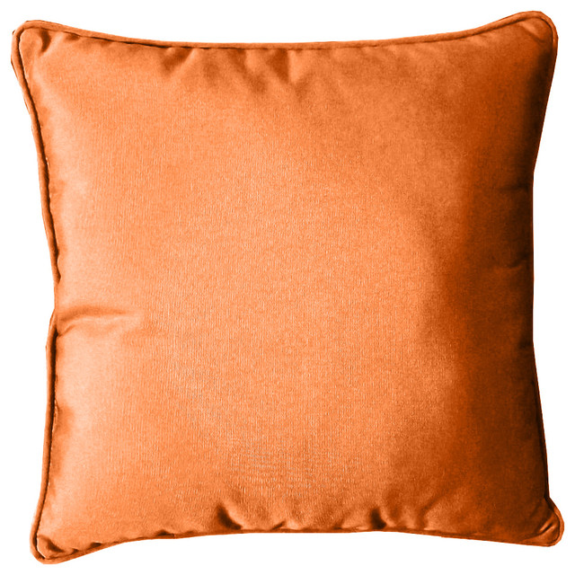 "Sunbrella Welted Toss Pillow, Tuscan Orange, 20""x20"""