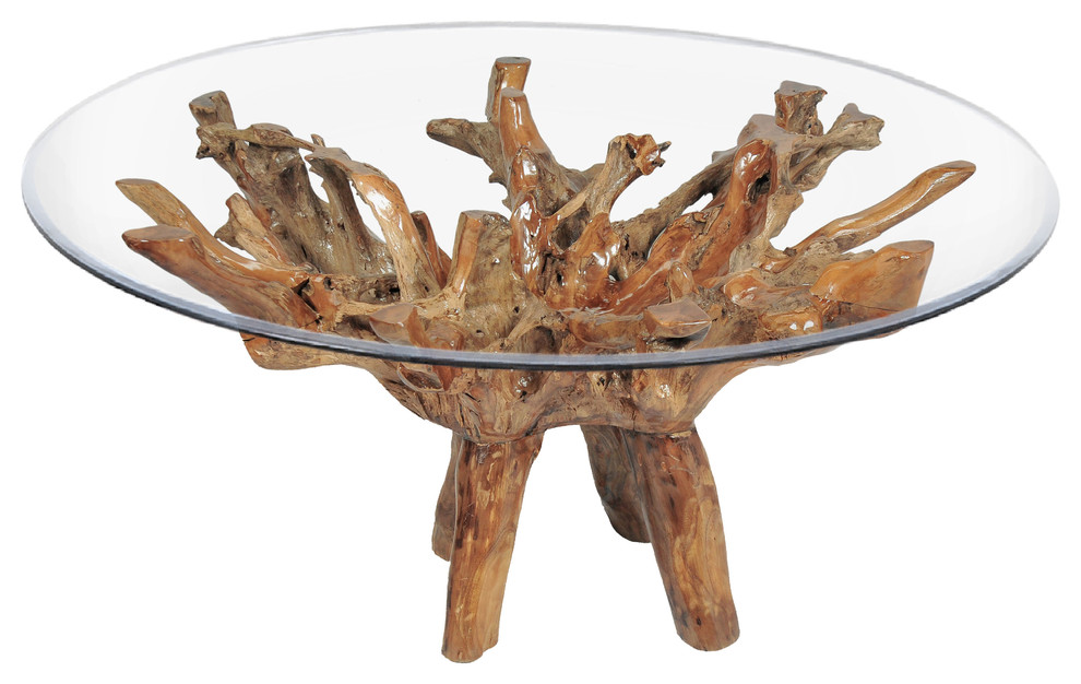 Teak Wood Root Dining Table With Round Glass Top Rustic Outdoor Dining Tables By Chic Teak