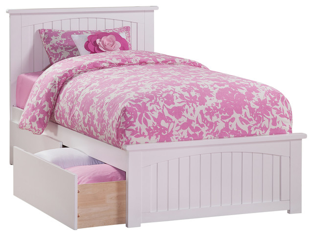 Nantucket Twin Matching Foot Board Platform Bed With 2 Bed Drawers, White.