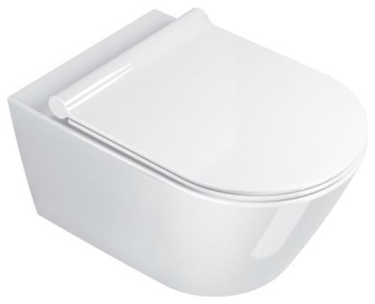 New Zero 55 cm Wall Hung WC Rimless, White Gloss