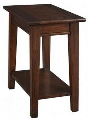 Chairside Table In Cherry Brown Finish.