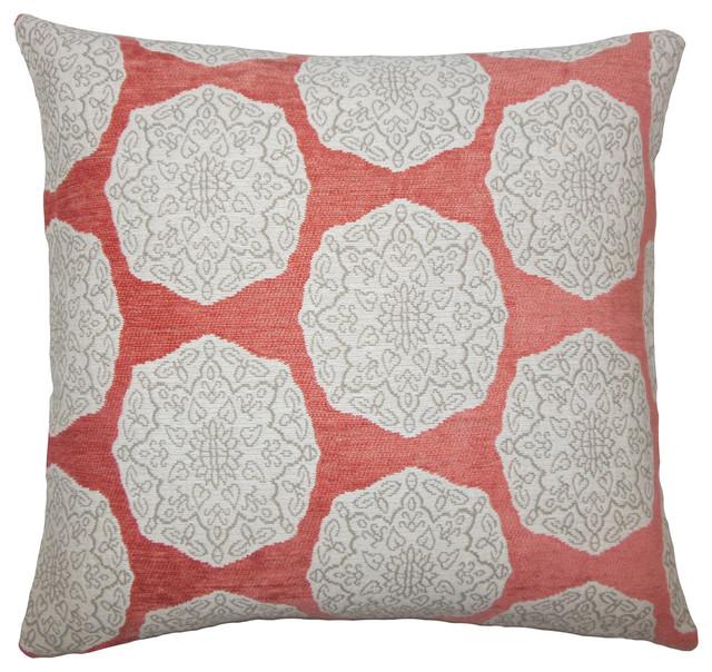 Quitzal Geometric Bedding Sham Coral Euro Sham 26 X26