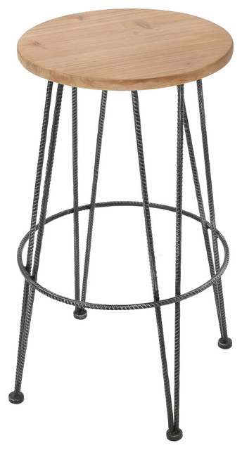 Ryce Wood and Naturally Antique Metal Frame Barstool