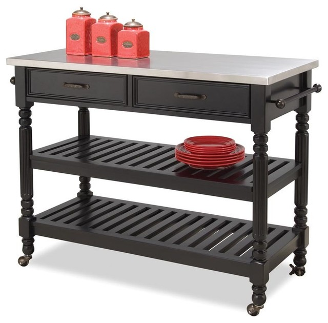 Home Styles Savannah Stainless Steel Top Kitchen Cart in Black