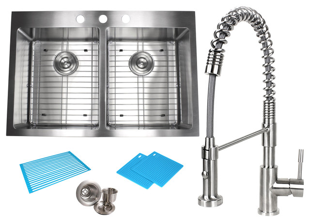 """33"""" Topmount Stainless Steel 50/50 Double Bowl Kitchen Sink And Faucet Combo."""