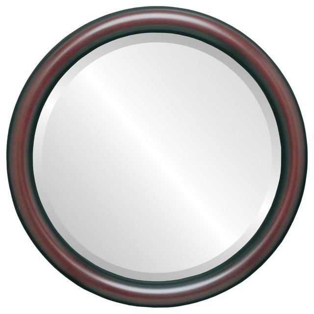 "Pasadena Framed Round Mirror In Rosewood, 19""x19""."