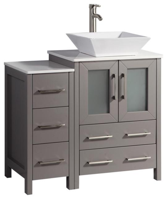 Vanity Art Set With Vessel Sink Contemporary Bathroom
