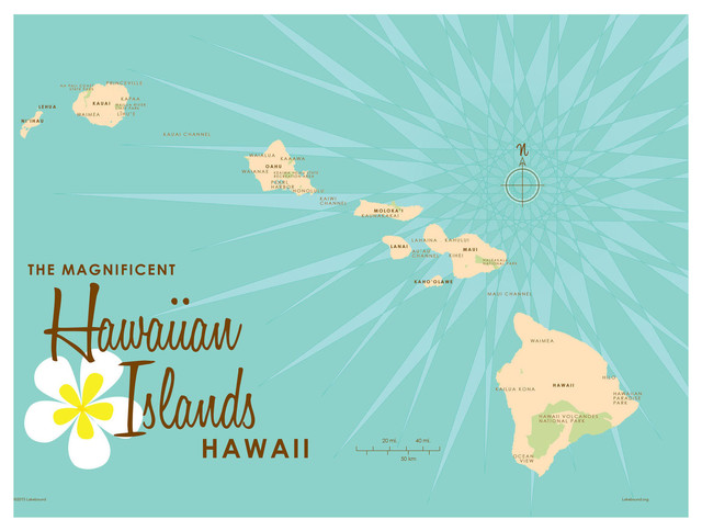 photo relating to Printable Map of Hawaiian Islands titled Lakebound Hawaiian Islands Turquoise Map Artwork Print, 9\