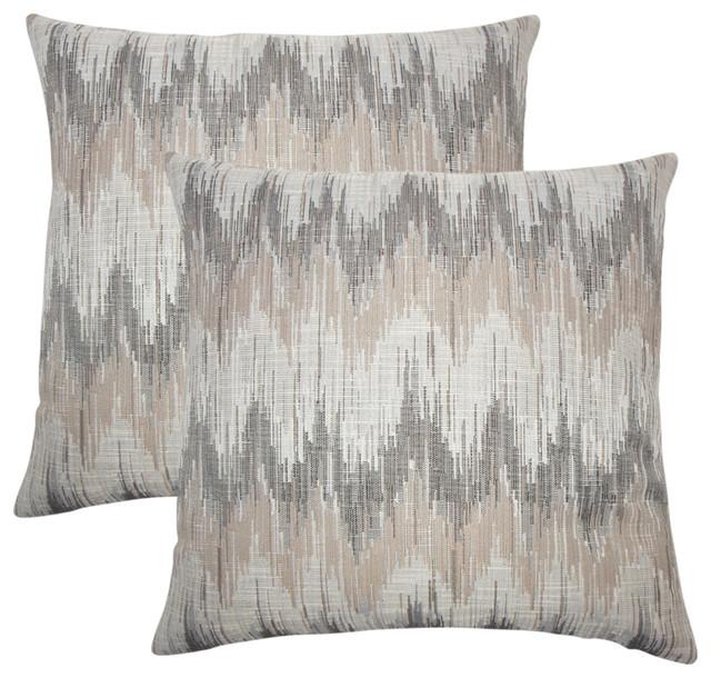 Fleta Ikat Throw Pillows, Set Of 2, Driftwood.