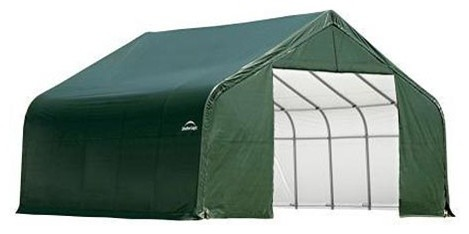 13x28x10 Peak Style Shelter With Green Cover.