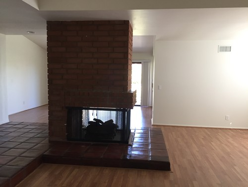 Brick fireplace in center of house design ideas needed for House plans with fireplace in center of house
