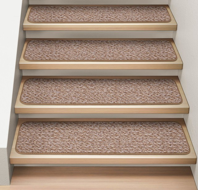 """Set of 12 Attachable Carpet Stair Treads Praline Brown, 9""""x36"""""""