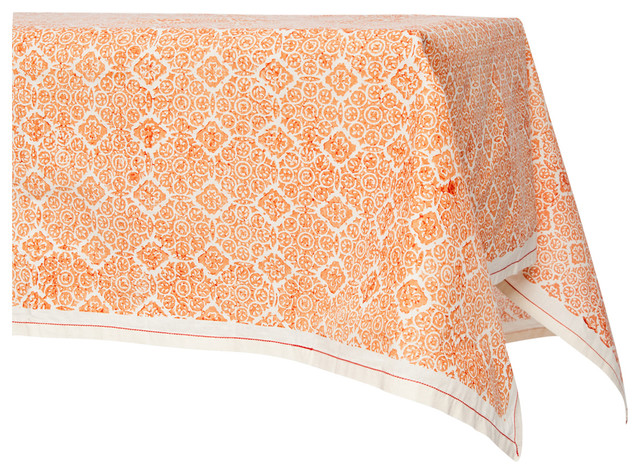 Mosaic Rose Hand Block Printed Table Cloth, Unbleached Cotton
