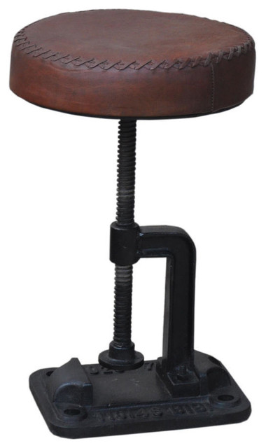 Shop Houzz Nach Adjustable Leather And Iron Industrial