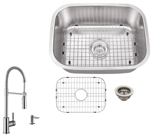 18-Gauge Single Bowl Bar Sink, Pull Out Kitchen Faucet And Soap Dispenser.
