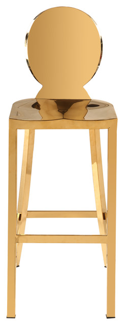 Maddox Chrome Stool, Gold Stainless Steel