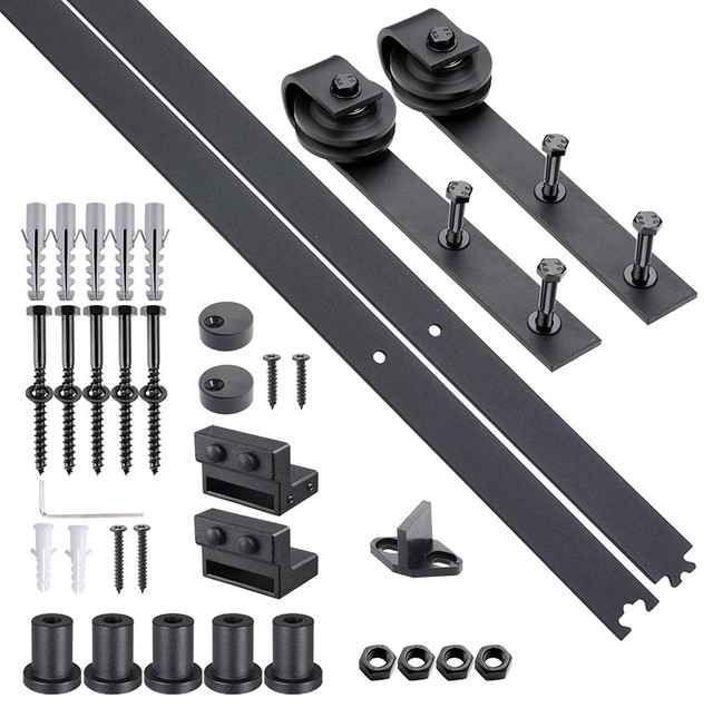 66 Carbon Steel Sliding Barn Wood Door Hardware Kit Track Roller