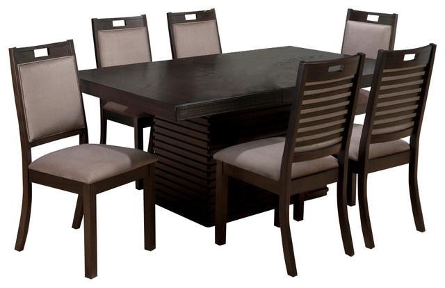 Jofran 588 72 Sensei 7 Piece Extension Dining Room Set In Oak Transitional