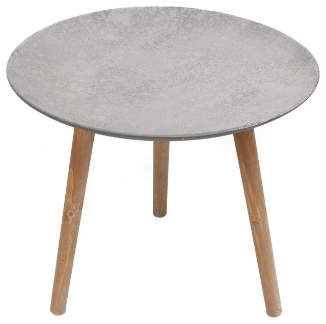 Home Garden Collections Waterproof 21 5 Round Accent Table With 3 Wooden Legs Side