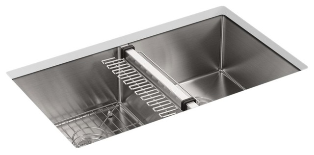 "Kohler Strive Under-Mount Double-Equal Sink Accessories, 32""x18.25""x9.32""."