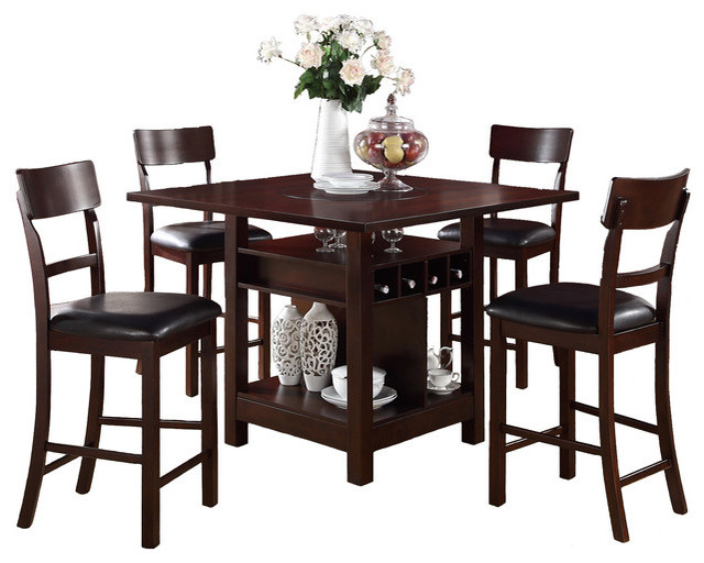 Built In Lazy Susan Counter Height Dining Table 7 Piece Set  Transitional Dining